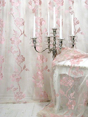 Trendoro Gardine, 1 Fertig-Gardine *Romantic Rose*, Farbe: Champagner-rosa, hochwertiger Voile mit aufgestickten Rosen