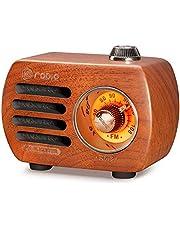 Gemean R-818 木製 ラジオBluetooth スピーカー小型ラジオ ワイドFM レトロ 充電式 ベースプレーヤー AUX 対応、プレゼントとして (桜材色)