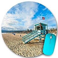 KAPANOU ラウンドマウスパッド カスタムマウスパッド、カリフォルニア州サンタモニカビーチのライフガード小屋、PC ノートパソコン オフィス用 円形 デスクマット 、ズされたゲーミングマウスパッド 滑り止め 耐久性が 200mmx200mm