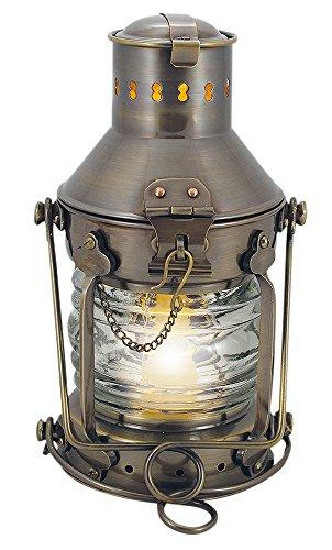 Nautic Spezial MV Schiffslaterne Ankerlampe Messing antik elektrisch H 24 cm Ø 12 cm 230 V E14