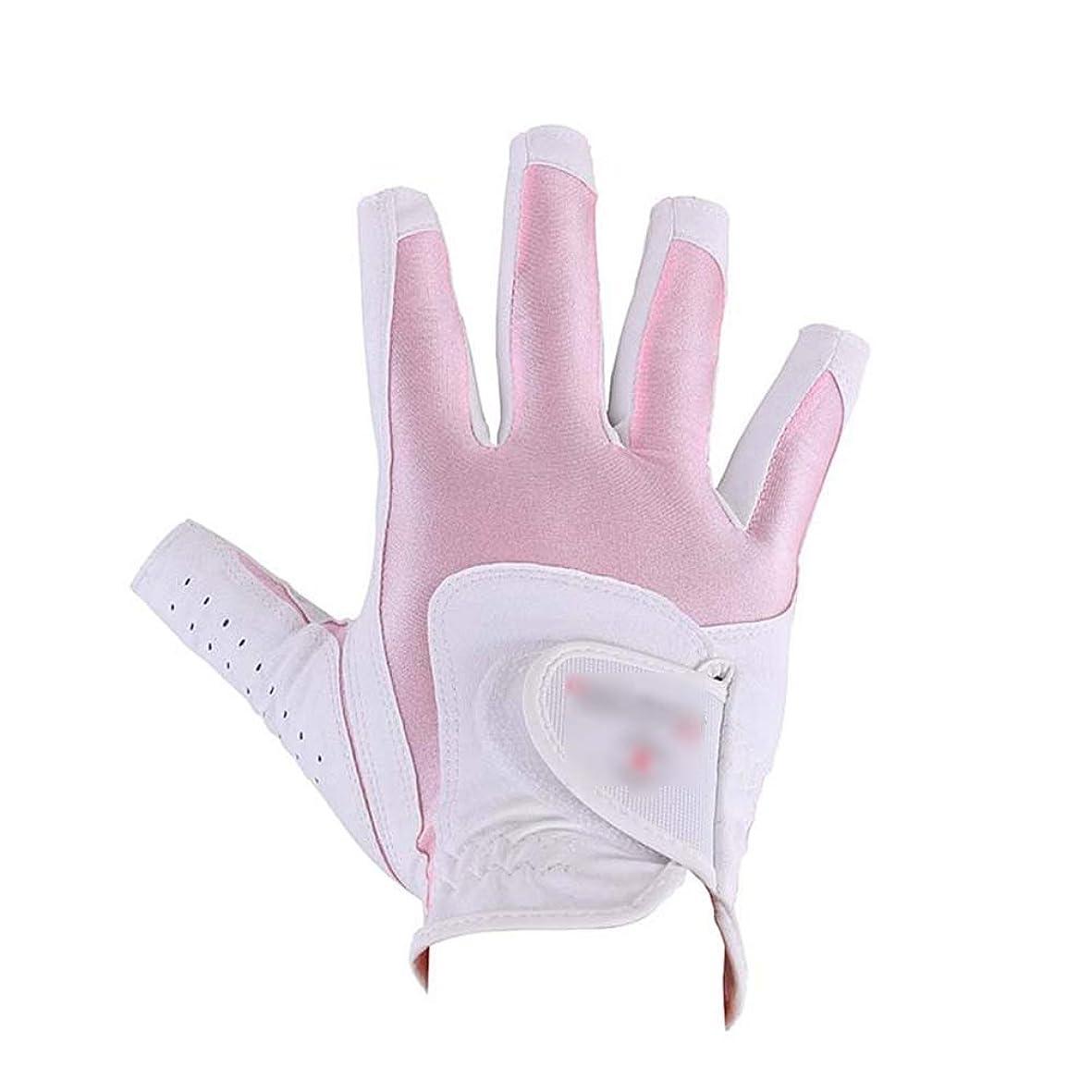 コピー連帯著名な女性の指なし滑り止め手袋ゴルフソフト通気性手袋滑り止め柔軟な練習ゴルフ手袋ホワイトピンク (色 : ピンク, サイズ : M)