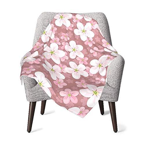 Baby Double Blanket Baby Quilt Cherry Blossoms House Decor Petal Plant Lovely Cartoon Children Sakura Floret Season Art Bed Baby Blanket,Baby Comfort Blanket