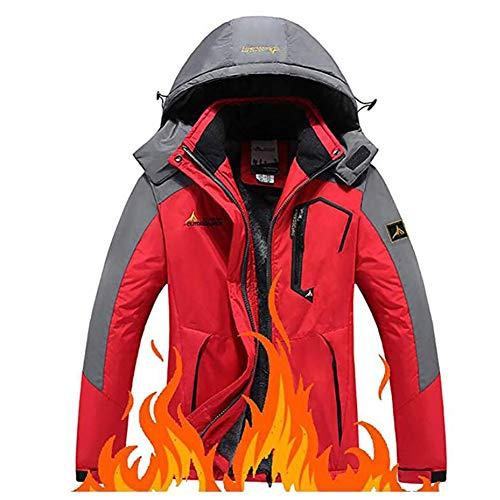 TOPYL Waterdichte jas voor dames, winterjas met capuchon, winddicht fleece, winterwarmer