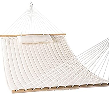Lazy Daze Hammocks 55  Double Quilted Fabric Hammock Swing with Pillow, Natural