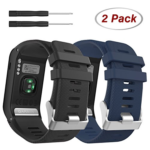 MoKo Ersatzarmbänder für Garmin Vivoactive HR, [2 Pack] Weiches Silikon Ersatz Band Uhrenarmband für Garmin Vivoactive HR Sports GPS Smart Watch mit Adapter Werkzeug, Schwarz & Marineblau