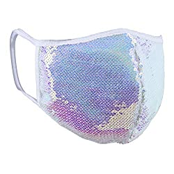 White Ab Sequins Cloth Face Mask