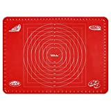 Webake Silicone Baking Mats 27.5 X 19.6 Inch / 70 X 50 cm Extra Large Baking Sheets Non Stick Reusable Rolling Pastry Mat with Measurements for Fondant Dough Cookies Cake Macarons Pizza Bread - Red