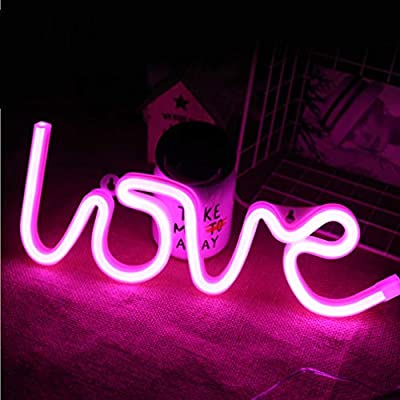 MorTime Love Neon Signs, LED Neon Light for Party Supplies, Girls Room Decoration Accessory, Table Decoration, Children Kids Gifts (Pink Love)