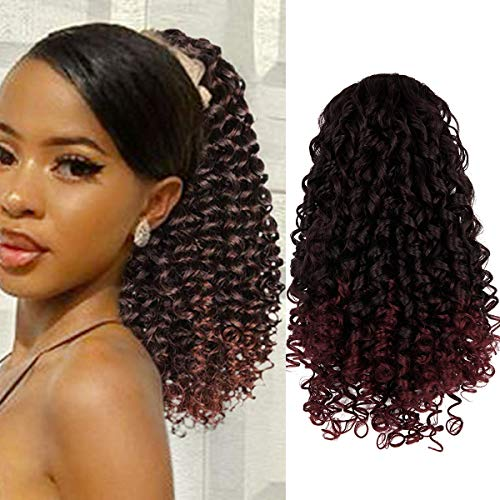 Drawstring Ponytail Extension Curly Ponytails for Black Women Synthetic Ponytail with 2 Clips on Ponytails Hair Extension for Women 14 Inch Black Mix Burgundy (T1B-BUG)