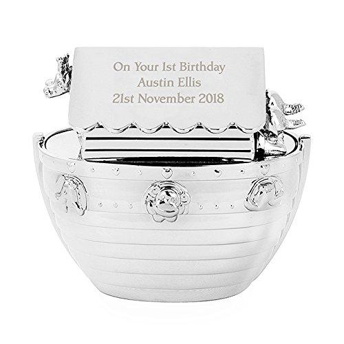Personalisierbare Arche-Noah-Spardose, versilbert, gravierbar, tolle Geschenkidee zur Taufe, Namenstag, 1. Geburtstag, für Nichte, Patentochter, neugeborene Mädchen, Taufgeschenk für Jungen