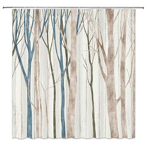 Tree Shower Curtain, Abstract Birch Forest Vintage Hand Painted Retro Rustic Woodland Fabric Bathroom Decor Sets with 12 Hooks,71X71 Inchs,Blue Tan