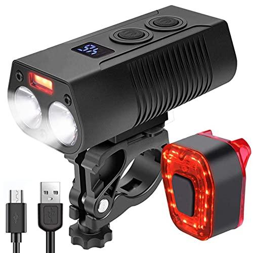 Juego de Luces para Bicicleta, Luces para Bicicleta súper Brillantes (batería de 4000 mAh) Luz Delantera para Bicicleta Recargable por USB Función de Banco de energía Luces de Ciclo