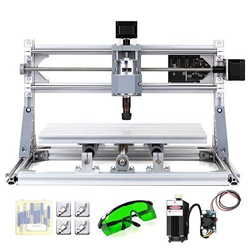 KKmoon Mini Machine per Incisione CNC3018 DIY CNC Router per Incisione Laser 2-in-1 GRBL Controllo 3 assi per PCB Legno in PVC Acrilico del Legno con ER11 Collet e Occhiali XYZ 300x180x45mm
