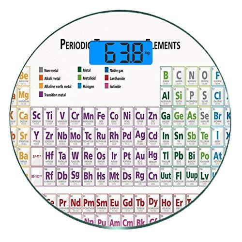 Escala digital de peso corporal de precisión Ronda Ciencia Báscula de baño de vidrio templado ultra delgado Mediciones de peso precisas,Química Estudiantes de la escuela primaria Lecciones de friki em