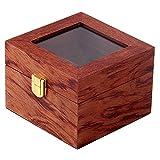 Huante Vitrina de Reloj de Madera con 2 Ranuras, Vitrina de Reloj de Madera con Tapa de Cristal Organizador de Joyas de Reloj, Rojo-MarróN