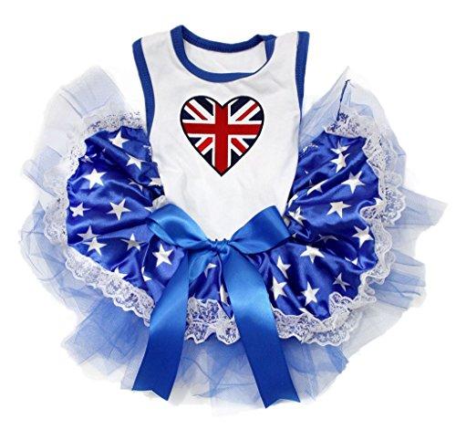 Petitebelle Brits Hart Wit Shirt Blauwe Sterren Kant Hond Jurk, Large, Kleur: wit