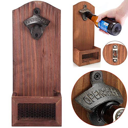 Abridor de botellas de madera montado en la pared con tapa de estilo vintage, abridor de botellas de cerveza retro para bar, cocina, hogar, garaje, terraza, regalo para padre y novio