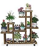 QooWare 7-Tier Solid Pinewood Multi Plant Stand - Gardening Set - 41'x9.8'x40.2' Indoor/Outdoor Flower Display Rack with Lockable Wheels - 3 Garden Tools, 2 Ergo-Grip Gloves - Easiest Set Up