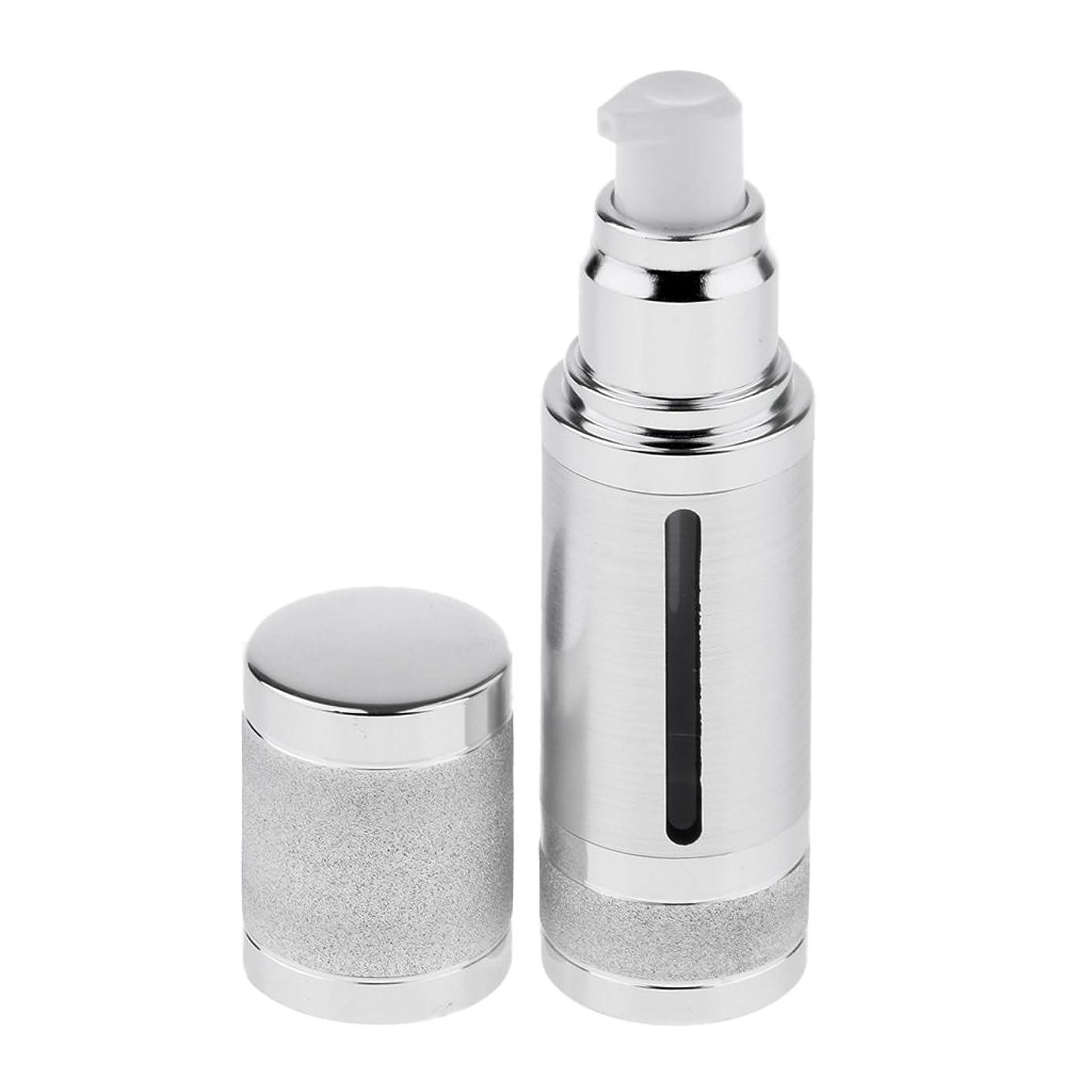 崩壊飼いならすよりFenteer ポンプボトル 空ボトル エアレスボトル 30ml 化粧品 詰め替え 容器 DIY 2色選べる - 銀