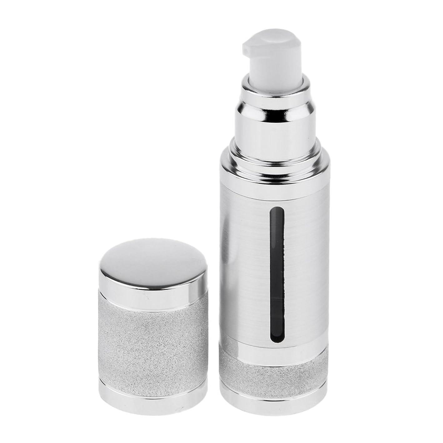 トレイ該当するアーティキュレーションFenteer ポンプボトル 空ボトル エアレスボトル 30ml 化粧品 詰め替え 容器 DIY 2色選べる - 銀