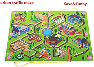 Elloapic Pen Driving Maze Puzzle Interactive Maze Leading Beads Maze on Board Game Eduactional Handcraft Toys-Square - Green Urban Traffic
