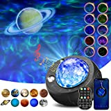 [2021 Upgraded]Planet Projector Light,SOLMORE Star Projector Night Light Sound Activated Galaxy Projector for Ceiling,4 in 1 Ocean Wave for Kid Adult Bedroom with Music Speaker, Voice & Remote Control