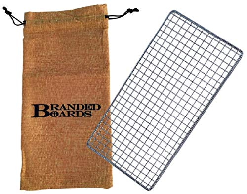 Branded Boards Bushcraft Stainless BBQ Grill Grate, Eco-Friendly Bamboo Cutting Board, Burlap Hemp Drawstring Bag, Mini Camp Knife. Camping, Backpacking, Hunting & Fishing. (Large Grill)