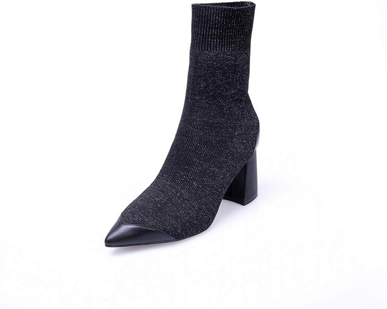 Zarbrina Womens Sock Mid Calf Boots Sexy Pointed Toe Chunky Heel Short Plush Slip On Knitting Winter Warm shoes