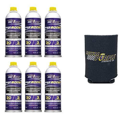 Royal Purple 11757 Case of 6 Max Boost Octane Booster - 16 oz Bottles Bundle with Koozie