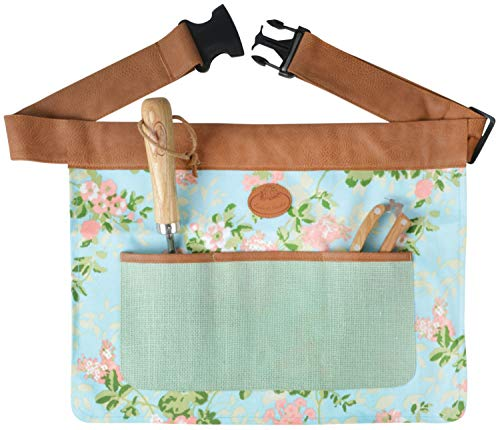Floral Outdoor Gardening Tool Belt Adjustable Durable 4 Pockets Waist Apron (46cm x 35cm)