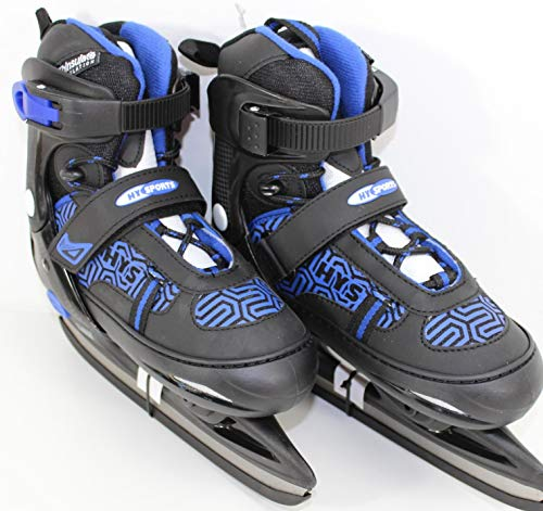 Kinder Schlittschuhe 37-40 verstellbar | Hockey Kinder Eislaufen Ice Skating Wintersport Black-Blue 9342