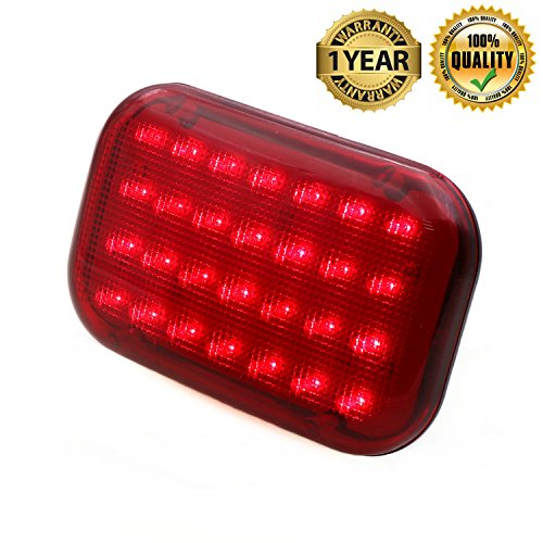 Timloon Car LED Magnetic Emergency Light Traffic Safety Warning Flashing Light with Built-in Rechargeable Battery,28-Diodes,Powerful Magnet (Red)