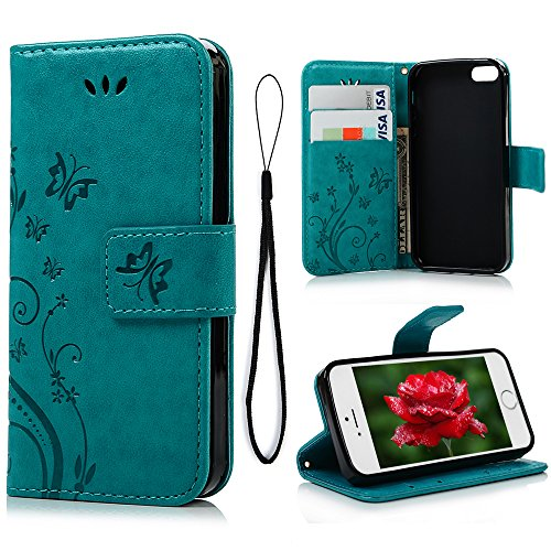 mollycoocle iphone case 5s iPhone 6 Case, iPhone 6S Wallet Case (Not for Plus), MOLLYCOOCLE Blue Butterfly Flower PU Leather Wallet Purse Credit Card Holders Magnetic Flip Folio TPU Soft Bumper Ultra Slim Cover for iPhone 6/6S