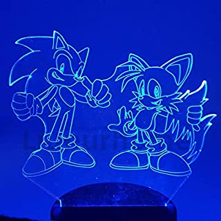 QIANDONG1 Sonic The Hedgehog Night Light 3D Illusion Table Lamp The Hedgehog Sonic Miles Prower Sonic Color Changing Touch Lights