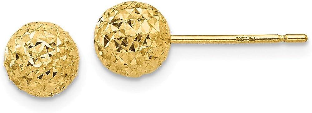 14K Diamond-Cut Ball Post Earrings