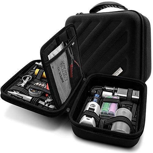 VapeHero® XXL E-Zigarette Reise-Tasche mit 2 x Preimium Matten zum herausnehmen | Dampfer Etui für bis zu 200ML Liquid Flaschen und Zubehör | Passend für große Mods 18650 Akku | Stoßfest