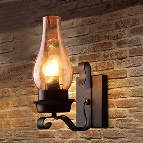 Industrial Loft Hierro Metal Rústico Aplique de pared Pasillo Luces de pared con E27 Socket Luces de pared para casa, Bar, Restaurantes, Decoración de cafetería (bombillas no incluidas)