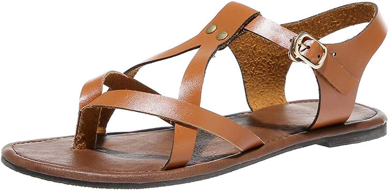 HEDDK Women Fashion Casual shoes Flat Sandals Ankle Buckle shoes Plus Size 35-42