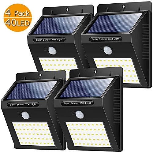Yacikos Solarleuchten Außen, (4 Stück) 40 LED Solarlampe mit Bewegungsmelder Solar Wandleuchte Solarlicht Wasserdichte Solar Beleuchtung Energiesparende Solarbetriebene Kabelloses Sicherheitslicht