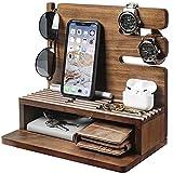 Yorbay Estación de Acoplamiento Soporte de Carga para Teléfono de Madera para Móvil,Tableta, Llaves, Gafas, Relojes, Regalos Originales para Hombres, útiles