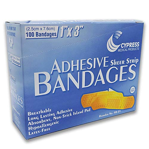 Cypress Medical 1' x 3' Adhesive Band-aids Sterile Latex Free (100 ct)