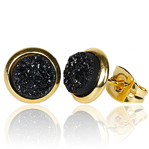Tiny 6mm Round 24k Gold Plated Natural Stone Druzy Stud Earrings Women (Black)