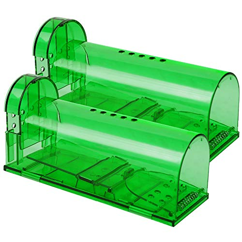 Phosooy Small Humane Mouse Trap, 6.7 x 2.6 x 2.5 Inch Transparent Live Mice Trap That Work, No Kill Catch Release Rat Trap, Plastic Mouse Trap Box Indoor Outdoor, 2 Pack