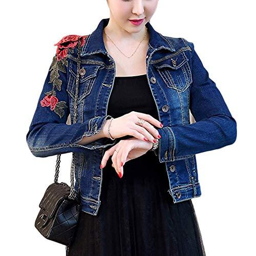 Damen Jeansjacke Mantel Denim Jacke Beiläufig Floral Bestickt Jeans Coat Fiesta Kleidung Outwear Fashion 2019 Frauen Kleidung (Color : Blau, Size : L)