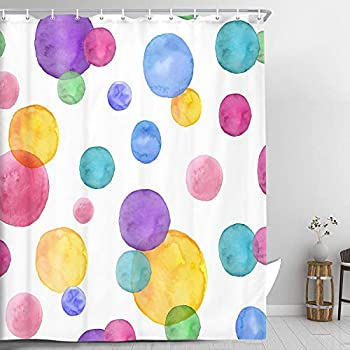 Watercolor Bubbles Kids Bathroom Shower Curtain Rainbow Stripe Theme Fabric Shower Curtain Sets Children Bathroom Decor with Hooks Waterproof Fabric Bath Curtain Purple Yellow Red Blue