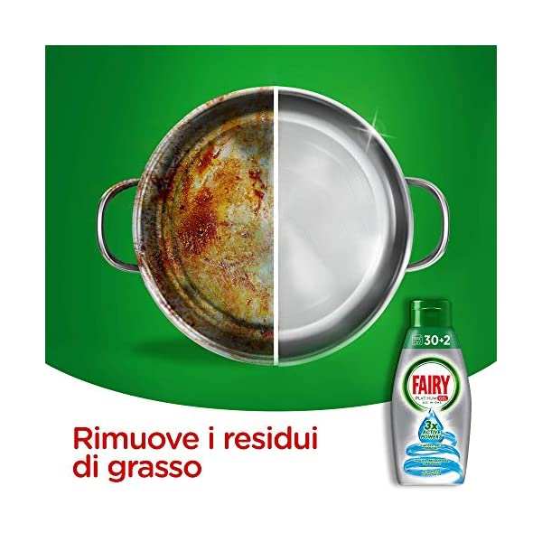 Fairy Platinum Gel Detergente para lavavajillas todo en 1, formato maxi 4 x 650 ml, Sea Breeze, 128 lavados