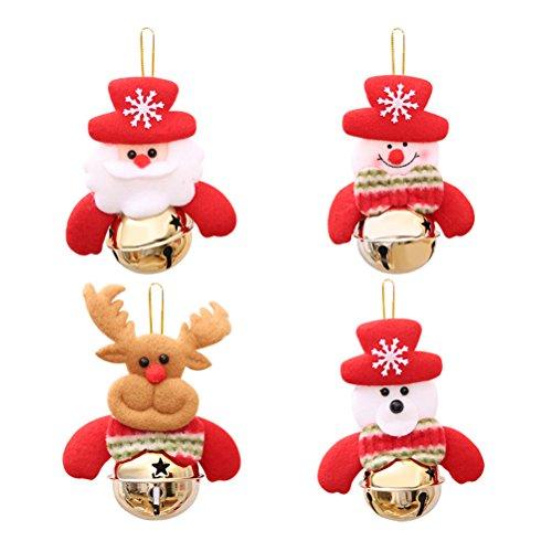 OULII Abbellimenti Natale Tessuto Decorazioni Natalizi a Forma di Babbo Natale Pupazzo di Neve Renna con Campane da Appendere per Albero di Natale 4PCS