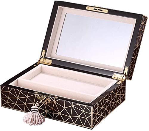 Jewelry Box for Women, Caja de joyería de madera para mujeres 2 capas de viaje Organizador de joyería Joyería con cerradura y espejo regalo con bloqueo para mujeres Trinket de tesoro multiusos organiz
