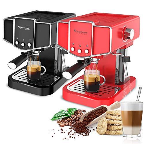 Turbotronic/Siebträger Kaffeemaschine mit Milchschäumer/schwarz oder rot/Espressomaschine, Cappuccino Latte, Pad Schwarz