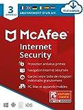 McAfee Internet Security 2020 | 3 Appareils |1 An| Logiciel Antivirus, Sécurité Internet, Gestionnaire de Mots de Passe, Sécurité Mobile| PC/Mac/Android/iOS | Édition Européenne| Téléchargement